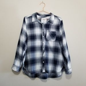 Sonoma navy and white plaid button up